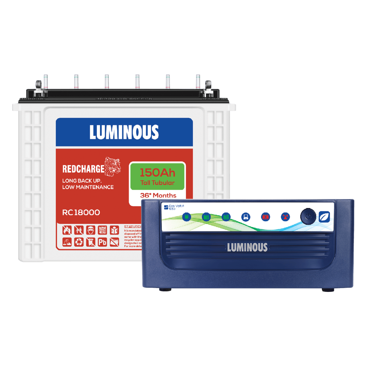 Luminous Inverter 1050 Eco watt Neo With Rc 150ah 18000 Tall Tubular Battery