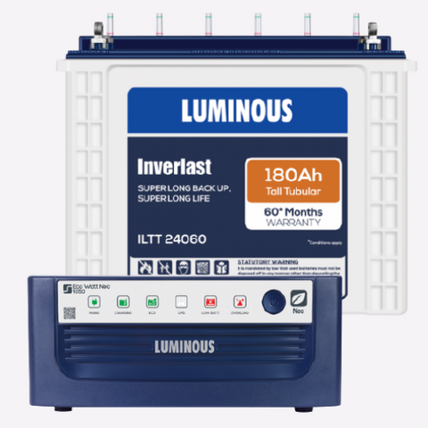 Luminous Inverter Eco Watt Neo 1050 + 180ah ILTT24060 Tall Tubular Battery