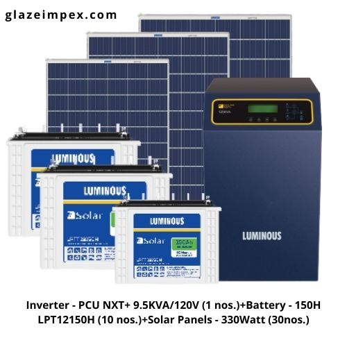 Luminous Off-grid 9KVA Solar System - 9KVA PCU Inverter, 150H Battery and 330W Panel