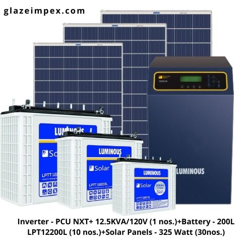Luminous Solar off-grid System - PCU NXT+ 12.5KVA Inverter , Battery 200H and 325W Panel
