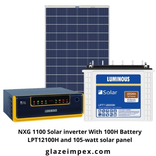 Best Hybrid Solar Combo - NXG 1100 Solar inverter With 100H Battery LPT12100H and 105-watt solar panel