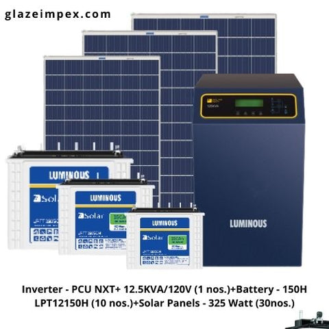 Off-grid solar system India - Inverter PCU NXT+ 12.5KVA With Battery 150H and 325W Panel