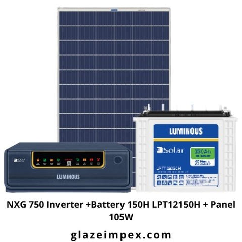 Solar Combo Pack - NXG 750 Inverter +Battery 150H LPT12150H + Panel 105W