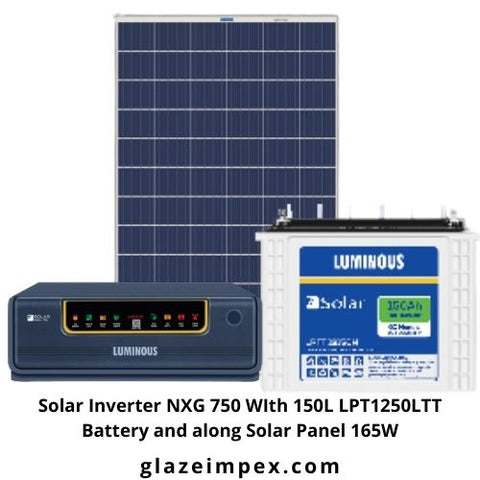 Solar Inverter NXG 750 With150L LPT12150LTT Battery along Solar Panel 165W
