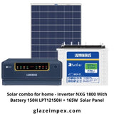 Solar combo for home - Inverter NXG 1800 With Battery 150H LPT12150H + 165W  Solar Panel