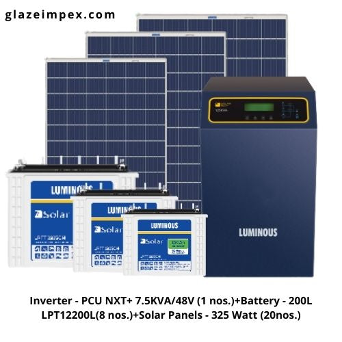 luminous 7.5KVA Off-grid Solar System - PCU 7.5KVA Inverter, 200L Battery, Panel 325W