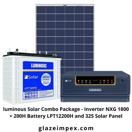 luminous Solar Combo Package - Inverter NXG 1800 + 200H Battery LPT12200H and 325 Solar Panel