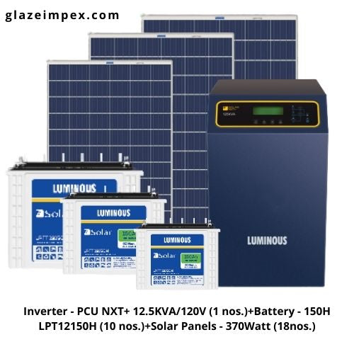 luminous off-grid solar system - Inverter PCU NXT+ 12.5KVA + Battery 150H and Panel 370W (MP)