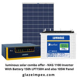 luminous solar combo offer - NXG 1100 Inverter With Battery 150h LPT12150H and also 105W Panel