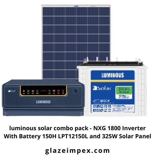 Luminous Hybrid Solar Combo Set - NXG 1800 Inverter 1N With Battery 150H LPT12150L 2N and 325W Solar Panel 4N