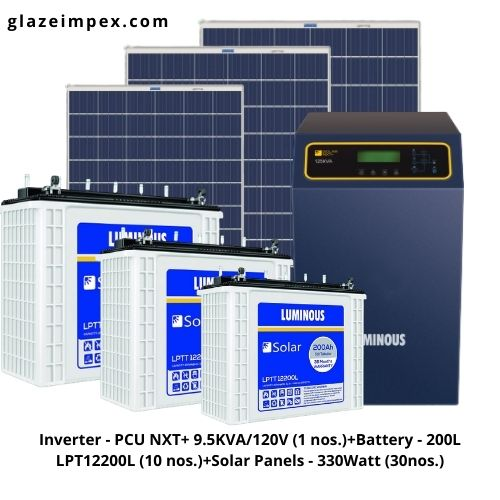 off-grid solar system packages with Inverter PCU 9.5KVA and  200L Batteries along With 330W Panel