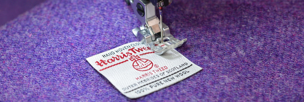 Harris Tweed Label Being Sewn