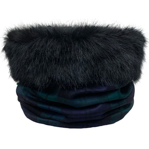 Black Watch Tartan Black Fur Trimmed Cowl