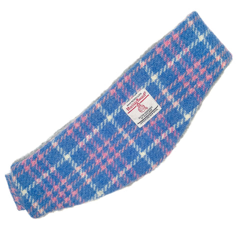 Harris Tweed Blue Pink & White Check Ear Warmer