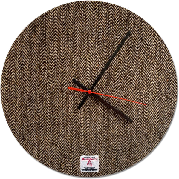 Harris Tweed Brown & Golden Beige Herringbone Large Wall Clock