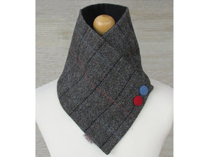 Harris Tweed Grey Herringbone with Flecks Button Detail Neck Warmer