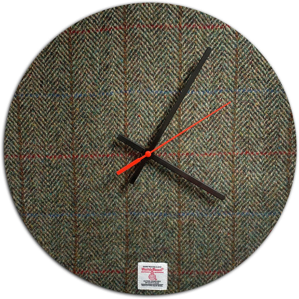 Harris Tweed Green & Fawn Herringbone Large Wall Clock