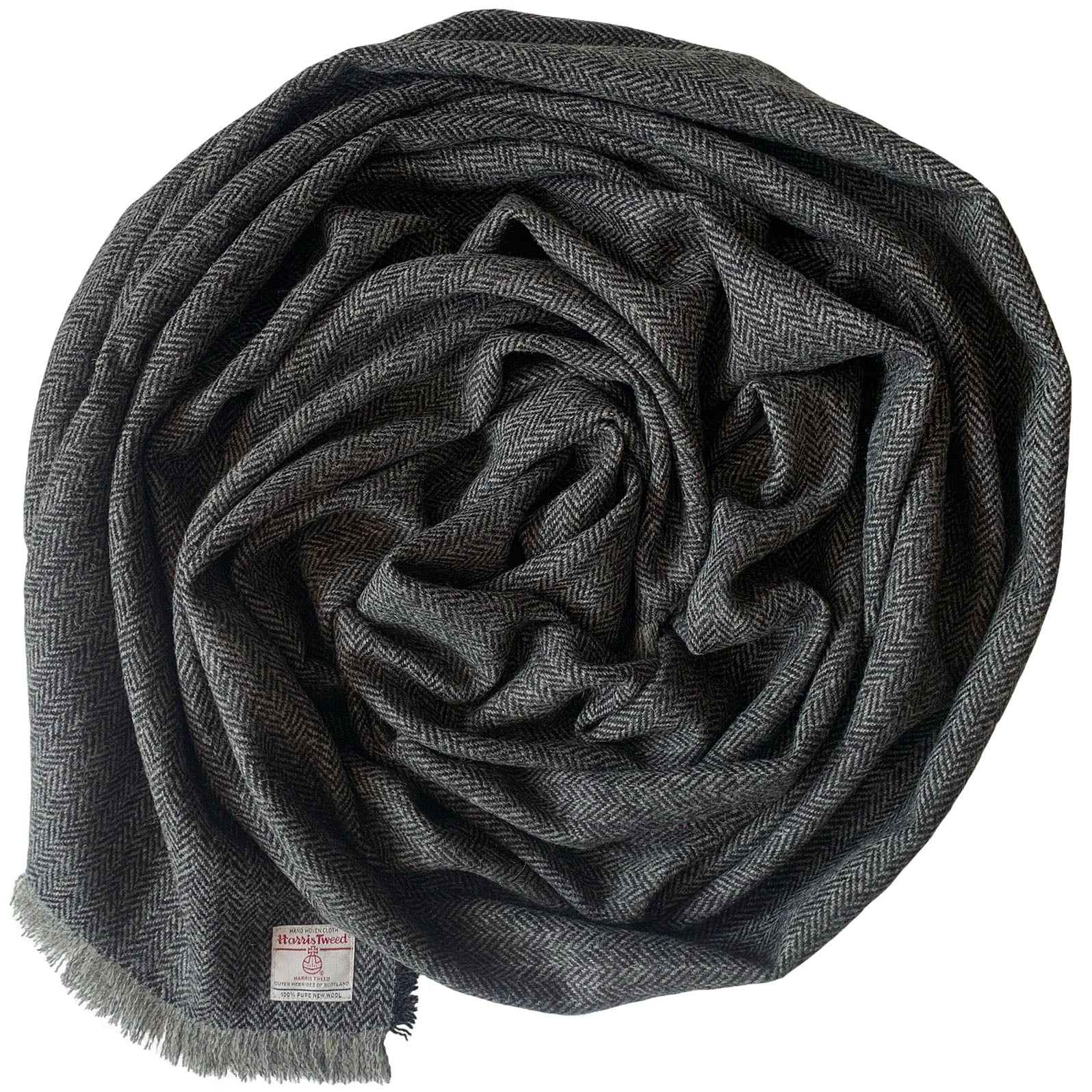 Harris Tweed Grey Herringbone Wrap