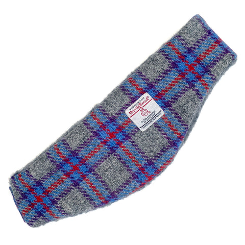 Harris Tweed Grey with Blue Red & Purple Check Ear Warmer