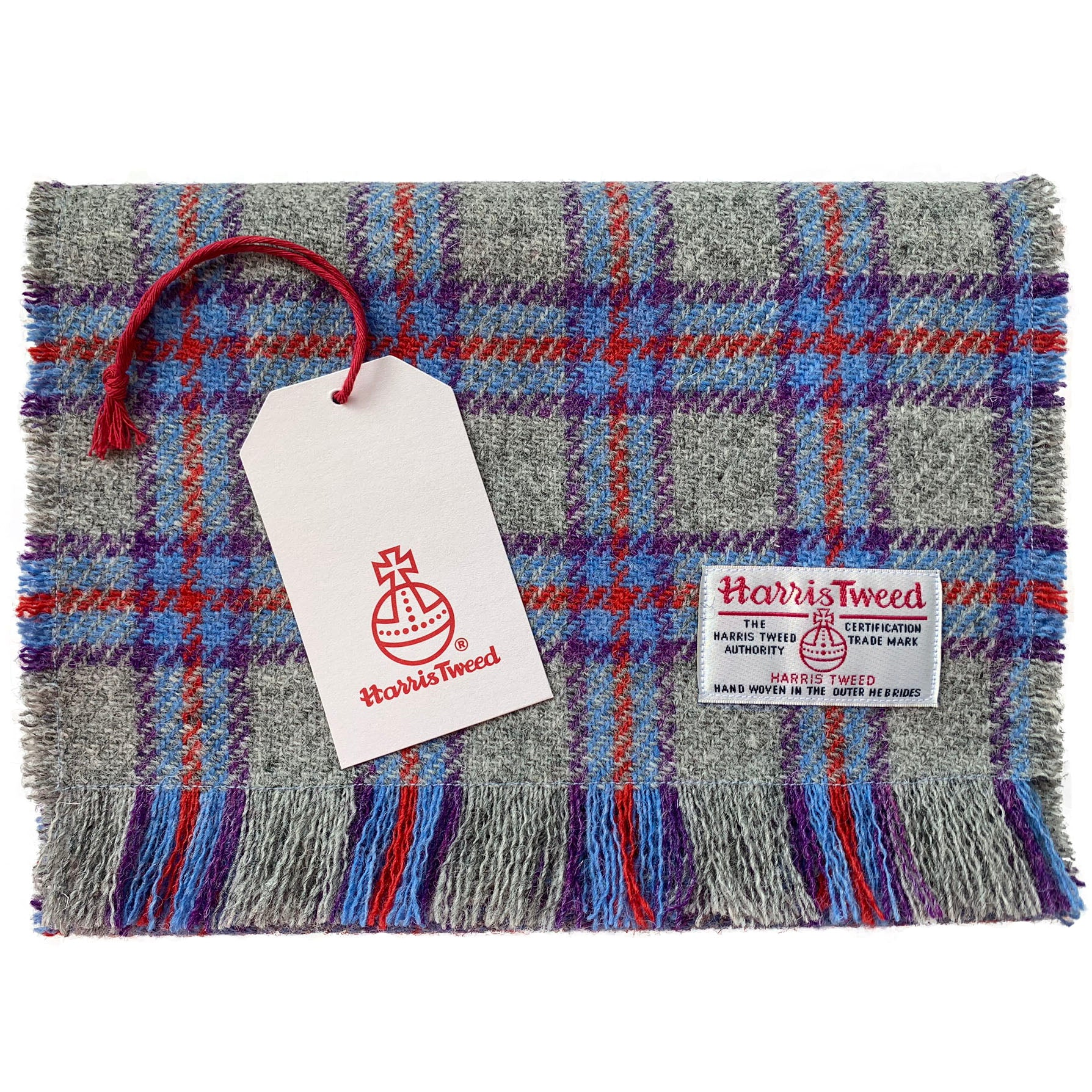 Harris Tweed Grey with Red Blue & Purple Tartan Check