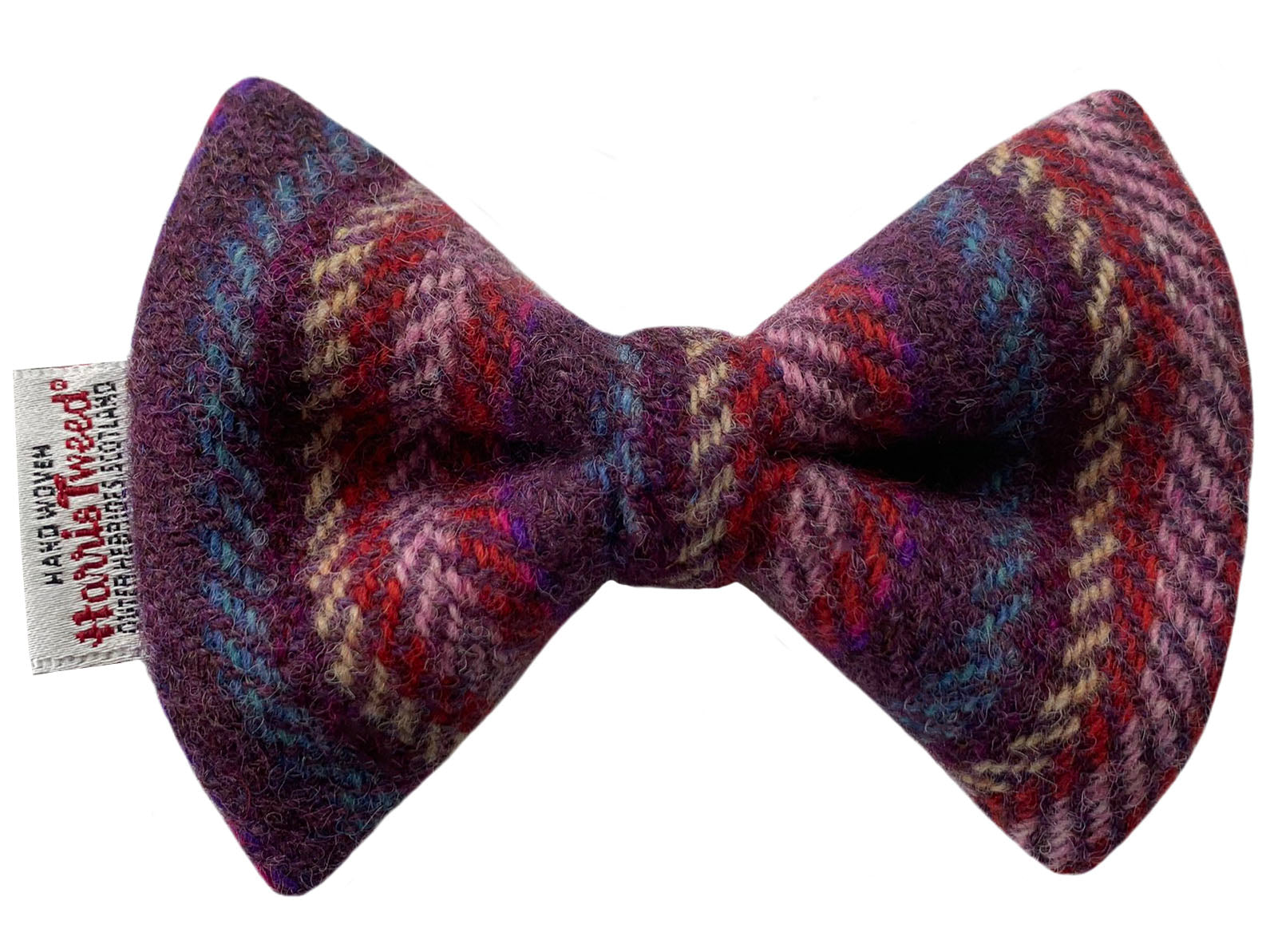 Harris Tweed Amethyst Stripe Dog Bow Tie