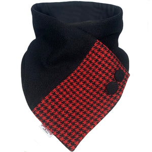 Harris Tweed Black & Red Houndstooth Button Detail Neck Warmer Scarf