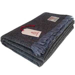 Harris Tweed Extra Large Blue Barleycorn Throw