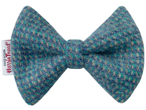 Blue & Fawn Harris Tweed Dog Bow Tie