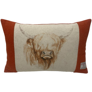 "Harris Tweed Burnt Orange with Highland Cow 50x33cm/20x13"" Cushion with Feather Insert"
