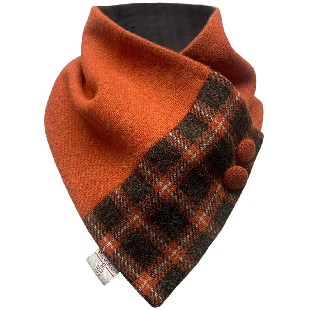 Harris Tweed Burnt Orange with Moss Check Button Detail Neck Warmer