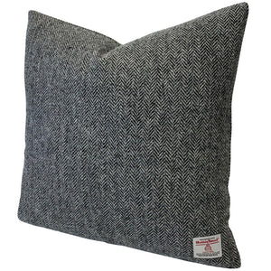 "Harris Tweed Grey Herringbone 45cm/18"" Cushion with Feather Insert"