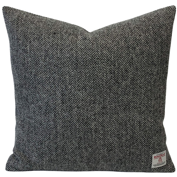 "Harris Tweed Grey Herringbone 45cm/18"" Cushion with Feath"