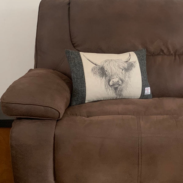 "Harris Tweed Grey Herringbone with Highland Cow 50x33cm/20x13"" Cushion with Feather Insert"