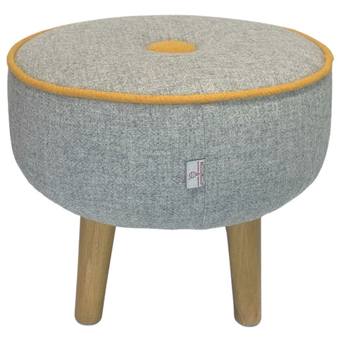 Harris Tweed Grey Marl Large Round Footstool with Mustard Yellow Piping