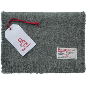 Harris Tweed Mid Grey Marl Fringed Scarf