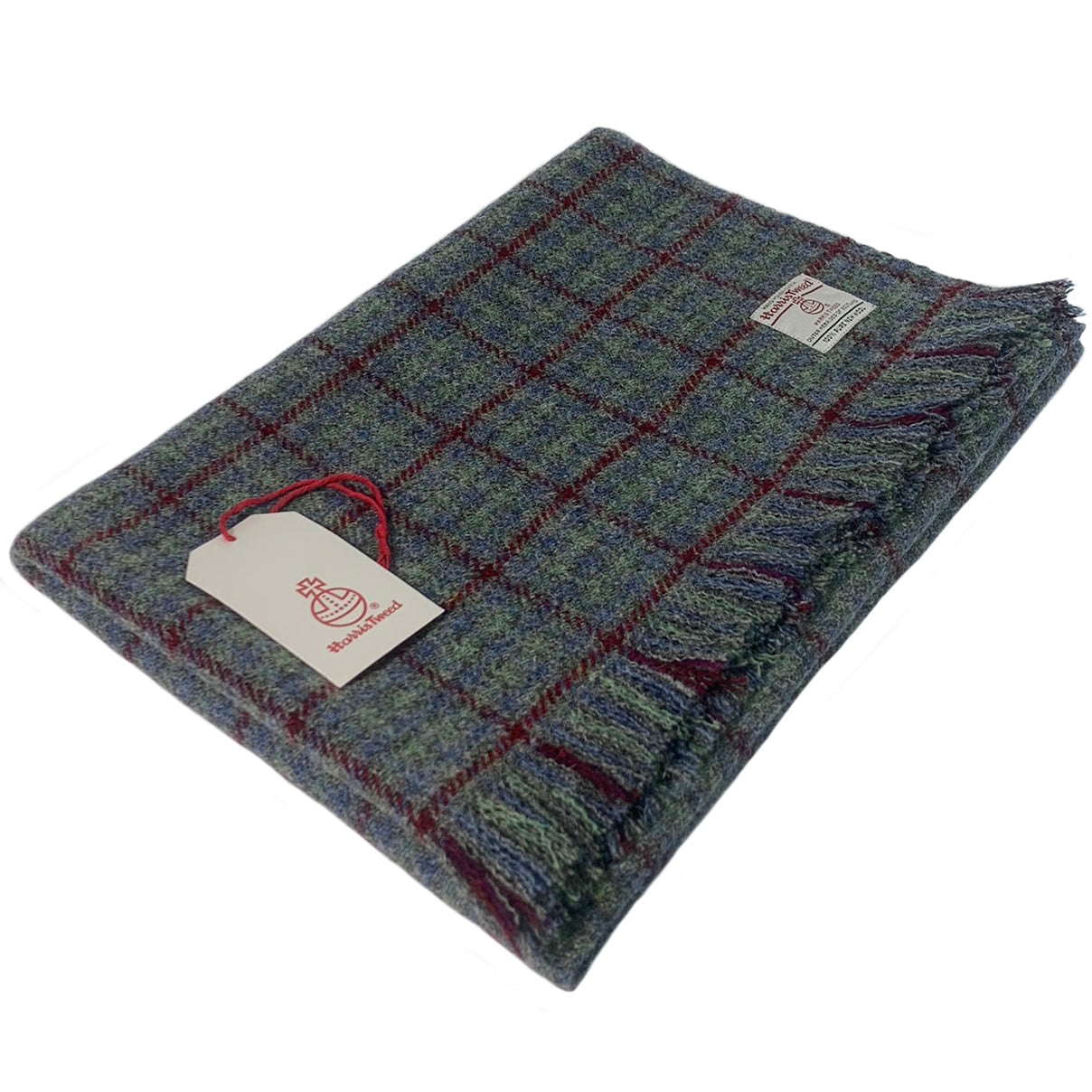 Harris Tweed Grey, Green & Blue with Wine Overcheck Lap Blanket