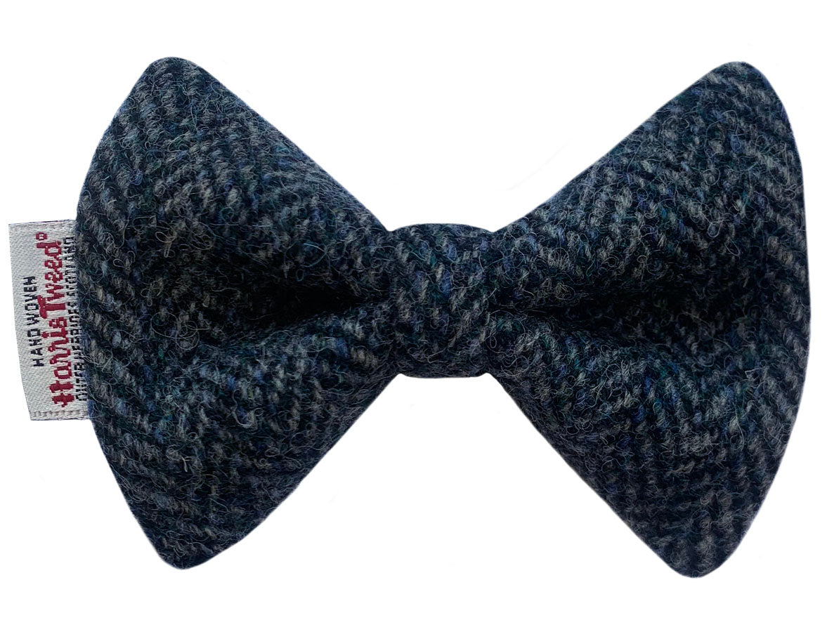 Grey & Sea Green Herringbone Harris Tweed Dog Bow Tie