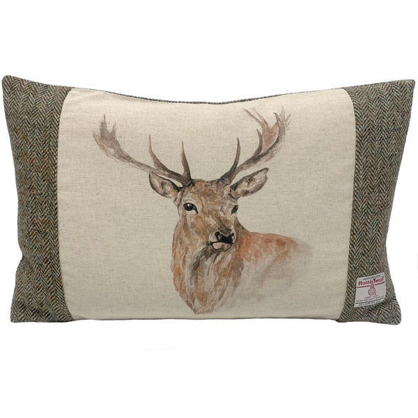 Harris Tweed Highland Herringbone with Stag's Head Cushion