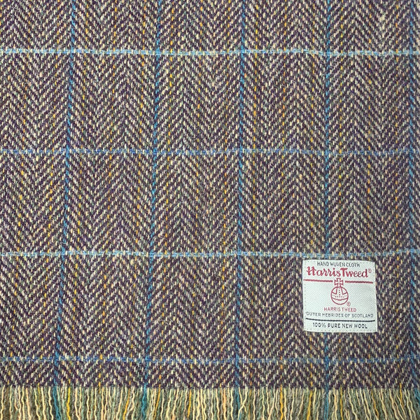 Harris Tweed Lilac & Mustard Herringbone with Blue Overchecks Lap Blanket