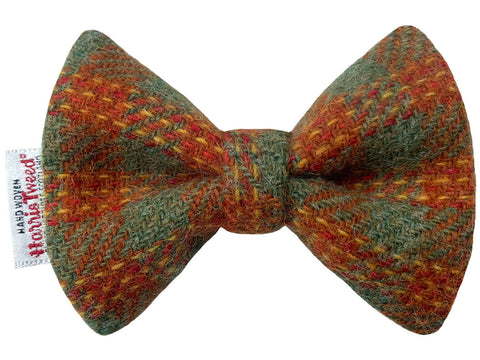 Lovat & Burnt Orange Check Harris Tweed Dog Bow Tie
