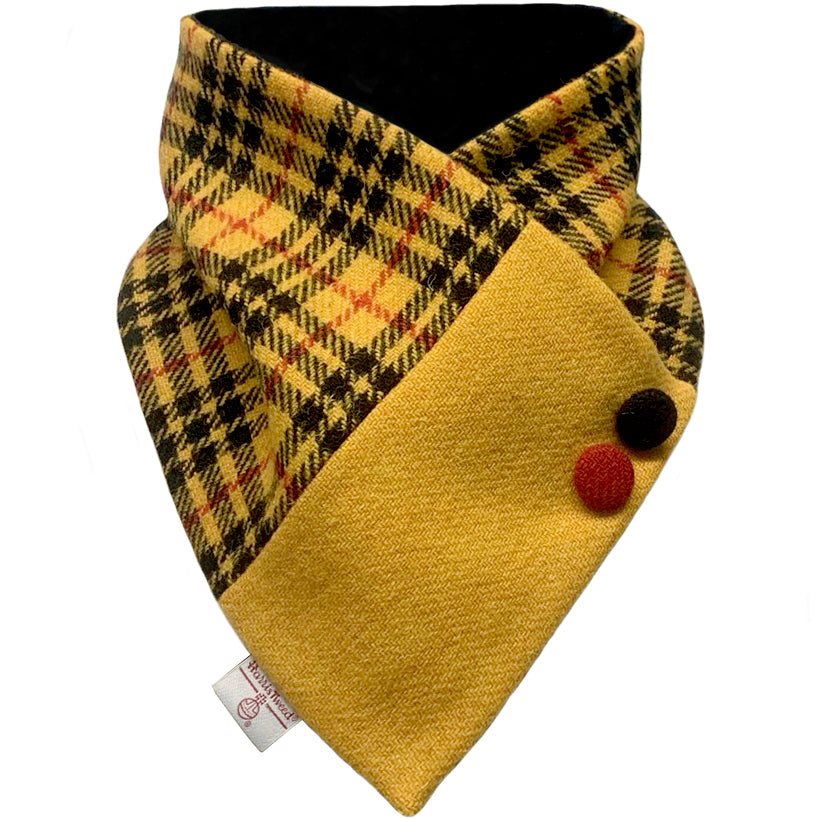 Harris Tweed MacLeod Modern Dress Tartan Check Button Detail Neck Warmer