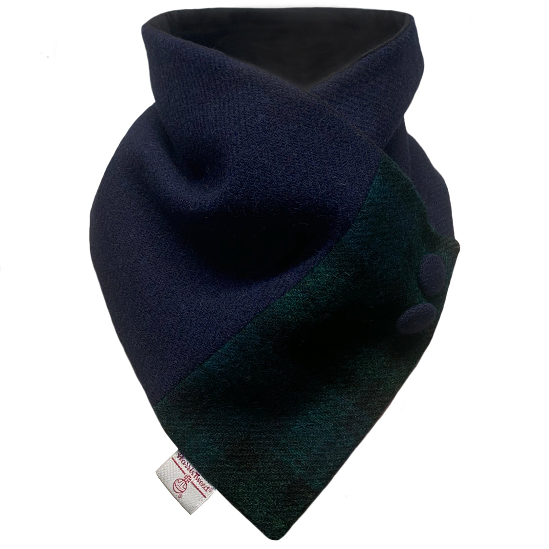 Navy with Black Watch Tartan Button Detail Neck Warmer