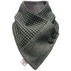 Harris Tweed Racing Green & Grey Marl Houndstooth Button Detail Neck Warmer