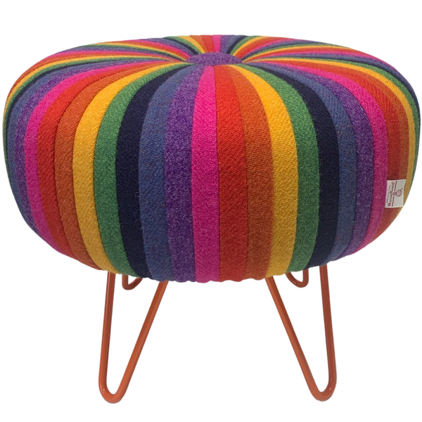Harris Tweed Rainbow Pinwheel Footstool with Tangerine Hairpin Legs