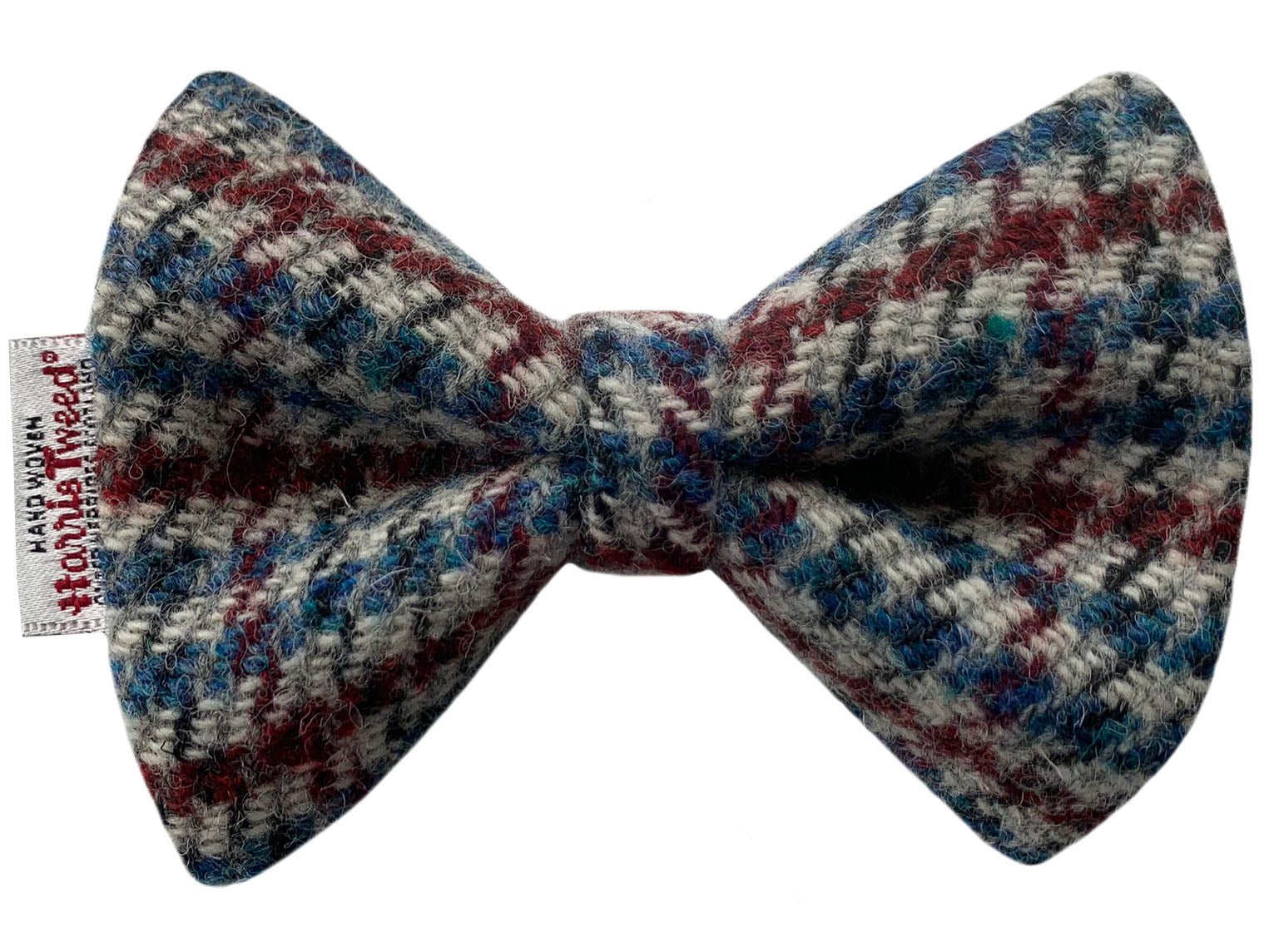 Harris Tweed Red, Blue & Grey Houndstooth Dog Bow Tie