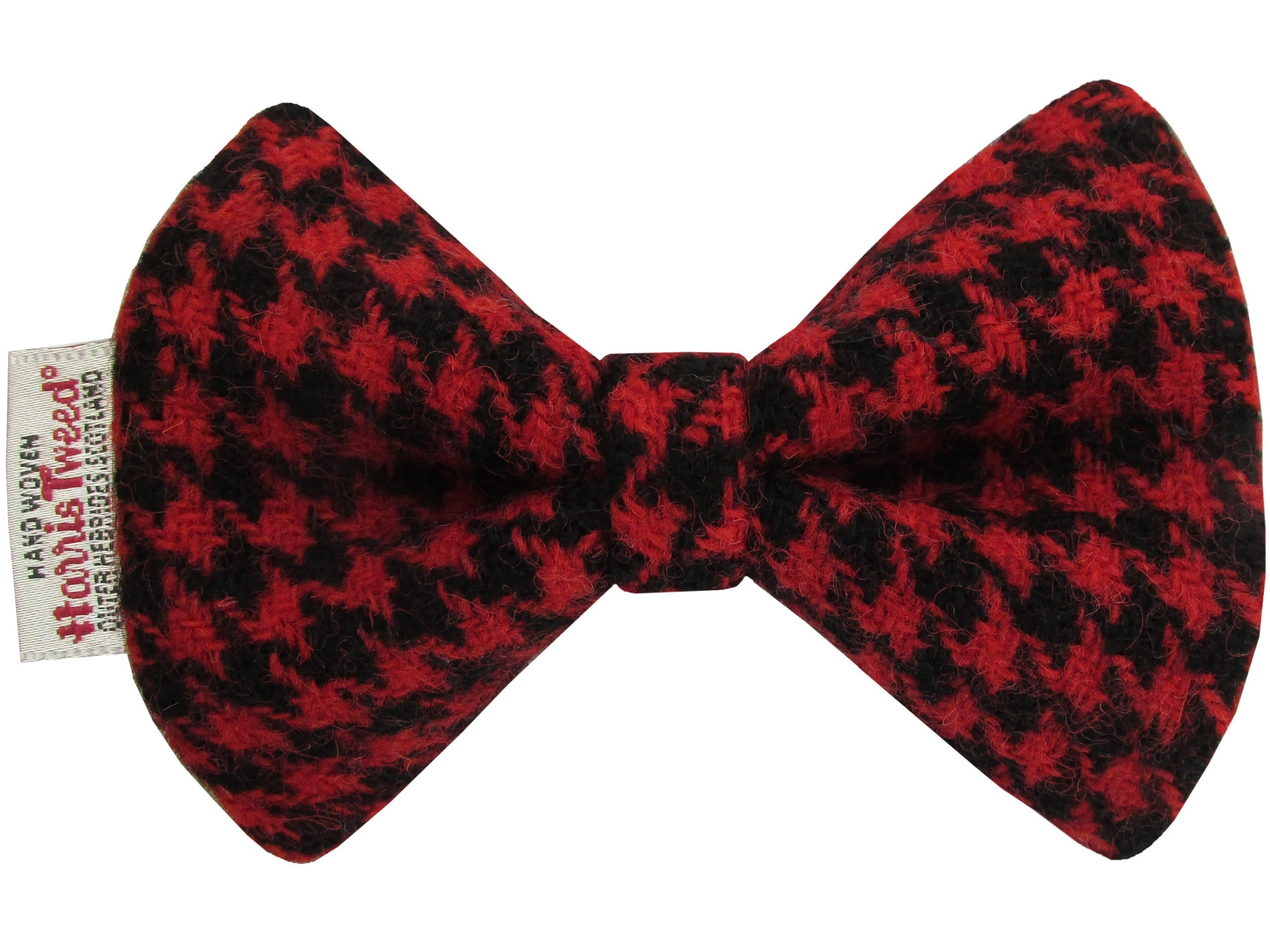 Red & Black Houndstooth Dog Bow
