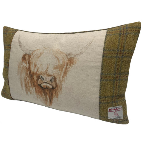 Harris Tweed Soft Mustard Check with Highland Cow Cushion