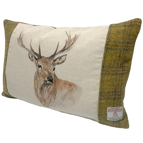 Harris Tweed Soft Mustard Check with Stag's Head Cushion