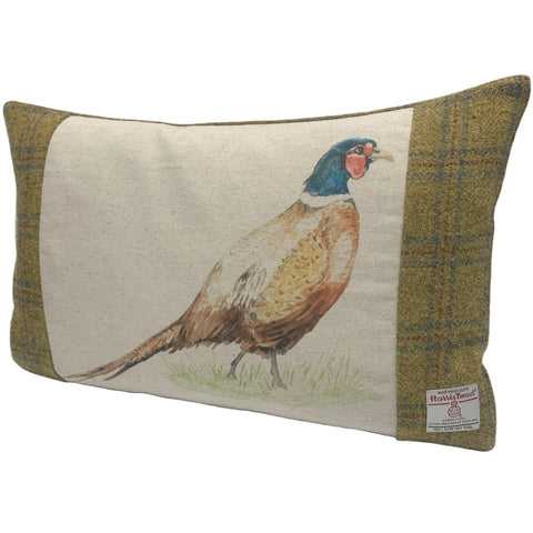Harris Tweed Soft Mustard with Pheasant Cushion