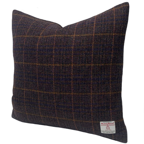 "Harris Tweed Tartan by Midnight 18"" / 45 cm Cushion with Duck Feather Pad"